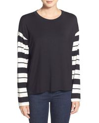 Amour Vert | Black 'cecily' Stripe Long Sleeve Tee | Lyst