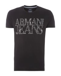 Armani Jeans - Black Regular Fit Web Logo Printed T Shirt for Men - Lyst