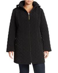 Gallery | Black Plus Hooded A-line Swing Coat | Lyst