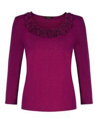 Precis Petite Purple Ruffle Detail Jersey Top
