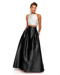 Xscape - White Contrast Halter Two-Piece And Ball Skirt - Lyst