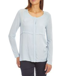 Betty Barclay Blue Collarless Blouse