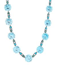 Bottega Veneta Blue Zirconia And Oxidised-Silver Necklace
