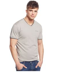 Armani Jeans | Gray Double-layer V-neck T-shirt for Men | Lyst