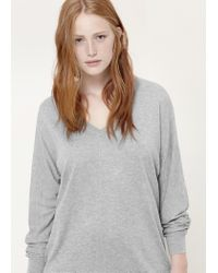 Violeta by Mango | Gray Ribbed Cotton-blend Sweater | Lyst