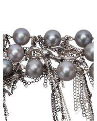 Samira 13 - Metallic Fringe Pearl Necklace - Lyst