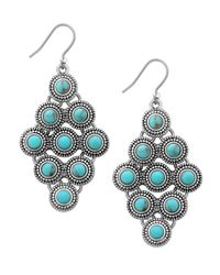 Lucky Brand | Blue Jeweled Drop Earrings | Lyst