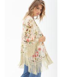 Forever 21 - Multicolor Floral Fringe Kimono - Lyst