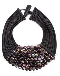Monies | Black Multistrand Necklace | Lyst