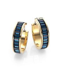 Michael Kors Blue Brilliance Statement Montana Baguette Hoop Earrings/0.9