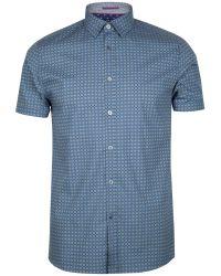 Ted Baker Blue Breath Circle Print Shirt for men