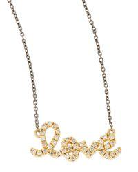 Sydney Evan - Metallic 14K Gold Love Diamond Script Necklace - Lyst