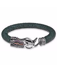 Platadepalo | Blue Zircon Stone Dragon Head With Leather Bracelet | Lyst