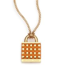 Michael Kors | Metallic Heritage Padlock Saffiano Leather Pendant Necklace | Lyst