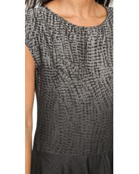 Halston Gray Cap Sleeve Print Dress - Grey Wave Texture Ombre