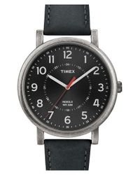 Timex - Black Antiqued Case & Leather Strap Watch - Lyst