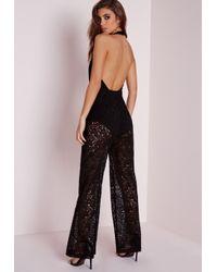 Missguided | Lace Wrap Halterneck Jumpsuit Black | Lyst