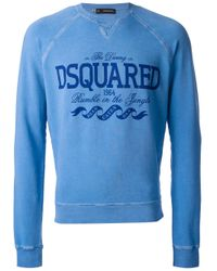 DSquared² | Blue Printed Sweatshirt for Men | Lyst