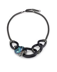 Alexis Bittar | Blue Imperial Noir Lucite, Labradorite & Crystal Lace Snake Link Necklace | Lyst