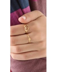 Jacquie Aiche | Metallic Ja Double Ring With Bezel - Yellow Gold | Lyst