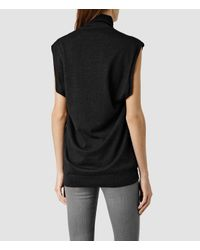 AllSaints | Black Alna Funnel Neck | Lyst