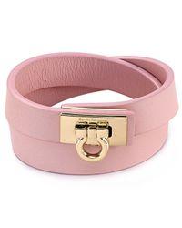 Ferragamo | Pink Gancini Double Wrap Leather Bracelet for Men | Lyst