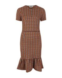 Opening Ceremony - Orange Check Stretch Lotus Dropped Ruffle Dress - Lyst