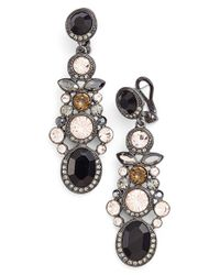 Givenchy | Multicolor 'drama' Jeweled Drop Earrings - Hematite/ Jet Mix | Lyst