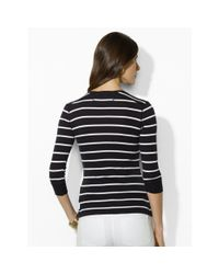 Ralph Lauren - Black Striped Cotton Henley - Lyst