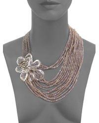 Alexis Bittar Metallic Marquis Crystal Magnolia Multistrand Necklace
