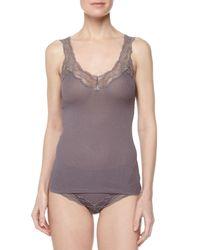 Hanro - Gray Valencia High-waisted Lace-trim Bikini Briefs - Lyst