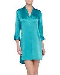 La Perla Blue Dolce Satin Sleepshirt Kingfisher Teal