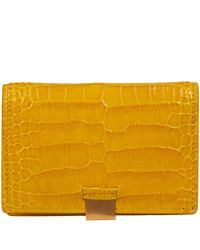 Smythson Yellow Mara Leather Card Case with Slide