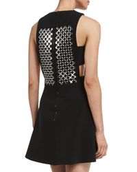 David Koma - Black Sleeveless Embellished Cady Dress - Lyst