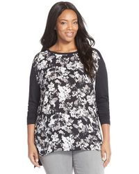 Sejour - Black Print Front Mixed Media Tee - Lyst