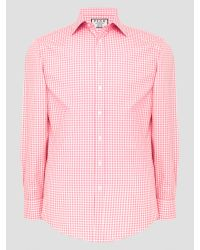 Thomas Pink Blue Summers Check Slim Fit Shirt for men