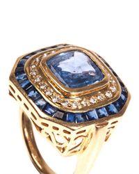 Jade Jagger - Blue Diamond Sapphire Yellowgold Ring - Lyst