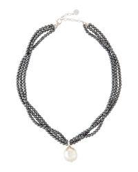 Majorica | White Three-Row Hematite Pearl Pendant Necklace | Lyst