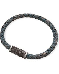 Seven London | Black Single-plait Leather Bangle for Men | Lyst