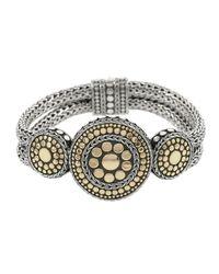 John Hardy - Metallic Dot Gold & Silver Nuansa Round Three Station Bracelet - Lyst