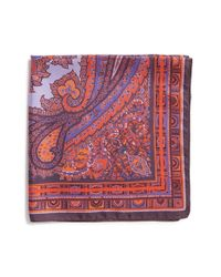 Etro | Red Paisley Print Silk Pocket Square for Men | Lyst
