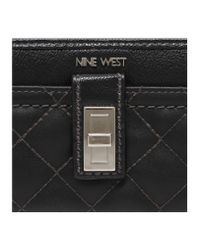 Nine West Black Flip Lock Zip Around Wallet