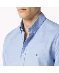Tommy Hilfiger - Blue Stretch Cotton Slim Fit Shirt for Men - Lyst
