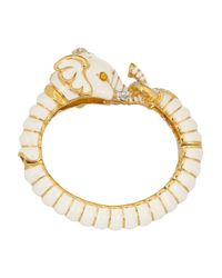 Kenneth Jay Lane | Metallic Enameled Gold-Plated, Crystal And Resin Elephant Bracelet | Lyst