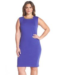 Calvin Klein | Purple Chain Detail Ponte Sheath Dress | Lyst