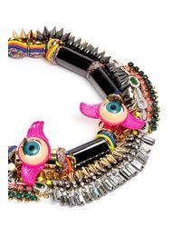 Venna | Multicolor Doll Eye Crystal Spike Threaded Necklace | Lyst
