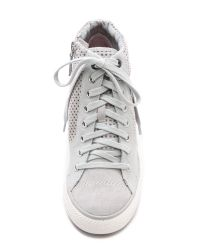 DKNY Gray Cindy Perforated Wedge Sneakers - Grey
