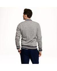 J.Crew - Gray Preorder Midweight Fleece Baseball Jacket for Men - Lyst