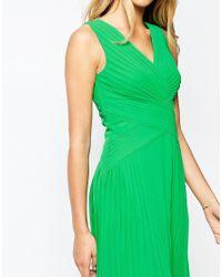 Ted Baker - Green Midi Pleat Panel Dress - Lyst