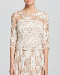 Kay Unger White Top - Three-Quarter Sleeve Illusion Lace